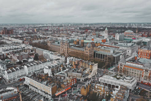 Aerial view of the Natural History Museum Ice Rink, with colourful roofs in London - AAEF07162