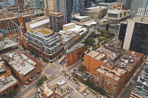 Aerial view of iconic Gooderham Building in Toronto, Canada - AAEF07482