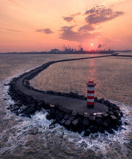 Aerial view of Ijmuiden, Noord-Holland, Netherlands with the