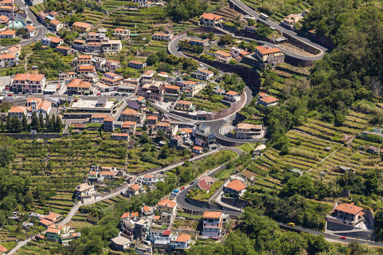Portugal, Madeira, Curral das Freiras, High angle view of winding road  stretching across mountain village - WDF05899 -