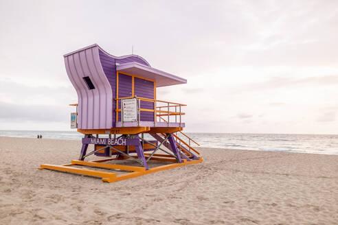 Art Deco style lifeguard hut on Miami Beach, Miami, Florida, USA - DAWF01282