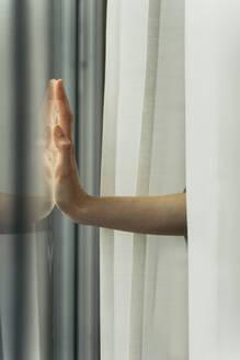 Hand of a woman touching windowpane - AFVF05959