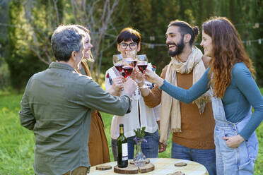 Group of friends toasting with red wine on their getaway in the countryside - VSMF00154