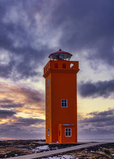 Iceland, Svortuloft Lighthouse at moody winter dusk - TOVF00147