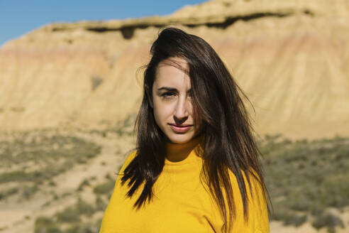 Portrait of brunette woman, Bardenas Reales, Arguedas, Navarra, Spain - XLGF00008
