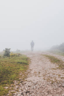 Spain, Cantabria, Silhouette of lone man walking along countryside dirt road shrouded in fog - FVSF00113