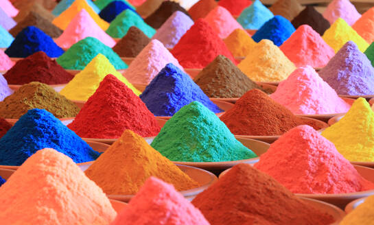 Close-Up Of Multi Colored Powder Paints For Sale In Market - EYF04757