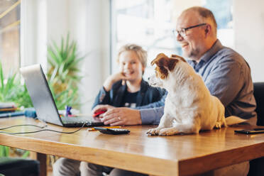 Happy father and son at home with dog on desk - MJF02508