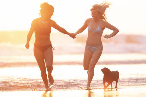 Two happy women runing on the beach at sunset, Costa Rica - AMUF00055