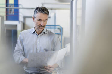 Competent businessman working in his company, looking at plan - DIGF09823