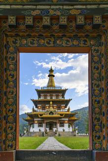 Bhutan, Entrance and facade ofKhamsum Yulley Namgyal Choetenstupa - TOVF00178