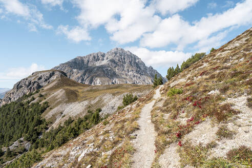 Hiking path at Ofenpass, Munster Valley, Grisons, Switzerland - HBIF00112