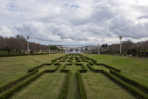 Portugal, Lisbon, Clouds overEduardo VII Park - RPSF00300
