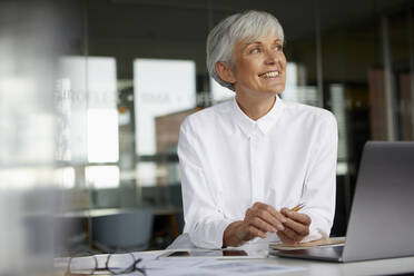 Portrait of smiling senior businesswoman at desk in her office - RBF07623