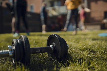 Dumbbell lying in grass with friends doing workout in garden in background - GUSF03593