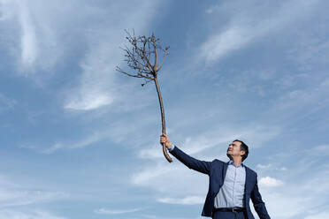 Mature businessman holding up a bare tree - JOSEF00402