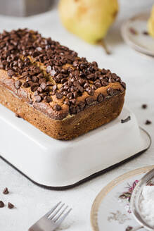 Loaf of oat bread with pears and chocolate chips - FLMF00215