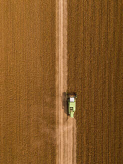 Aerial view of combine harvester on a field of soybean - NOF00084
