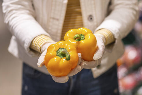 Crop view of young woman with protectice gloves holding yellow bell peppers - ASCF01260