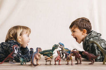 Brother and his little sister playing with toy dinosaurs - JRFF04412