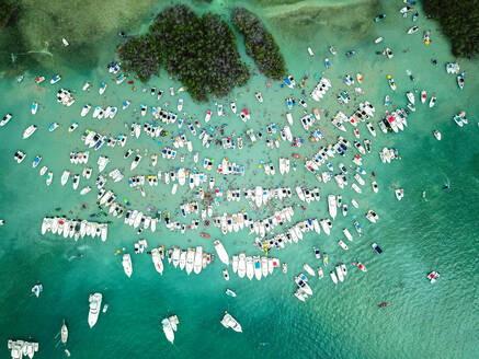 Aerial view of Cayo Caracoles, La Parguera Puerto Rico. Known to be one of the most popular tourist spots on the soutwest of the Island. - AAEF08023