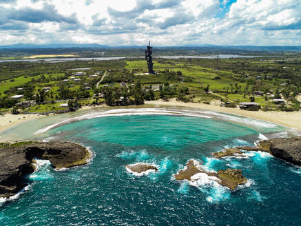 Aerial View of Christopher Colombus statue Located in Arecibo Puerto Rico. - AAEF08192