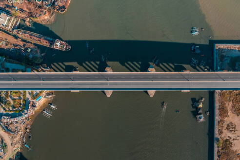 An aerial view of an empty Cansaga Bay Bridge on April 10, 2020 in Cebu, Philippines. - AAEF08291