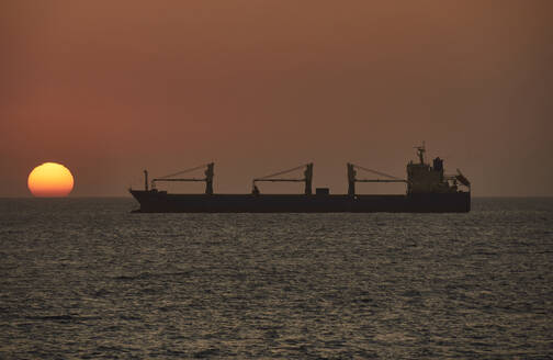 Ship on the sea at sunset, Walvis Bay, Namibia - VEGF02095