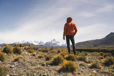 Hiker in remote landscape in Patagonia, Argentina - UUF20300