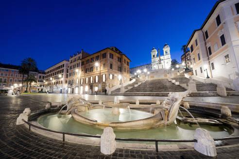 Piazza di Spagna (Spanish Steps) with Barcaccia fountain in foreground and Trinita dei Monti in background, Rome, Lazio, Italy, Europe - RHPLF15038