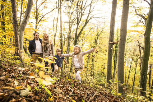Family enjoying autumn in forest - WFF00393