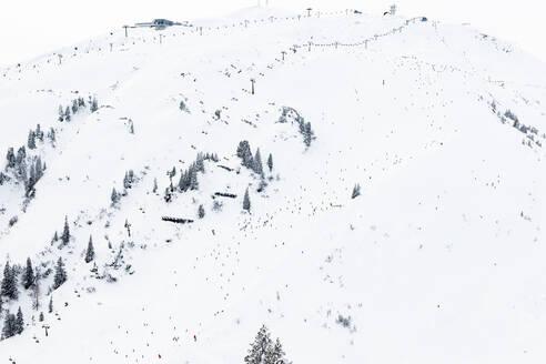 Austria, Vorarlberg, Low angle view ofArlberg ski slope - WFF00410