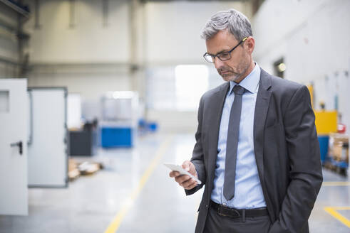 Mature businessman using cell phone in a factory - DIGF10556