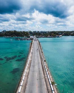 Aerial view of an empty bridge due to the coronavirus pandemic in Tagbilaran, Bohol, Philippines - AAEF08468