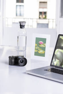 Digital camera, laptop, water carafe and framed picture of water lilies in pond - SKAF00145