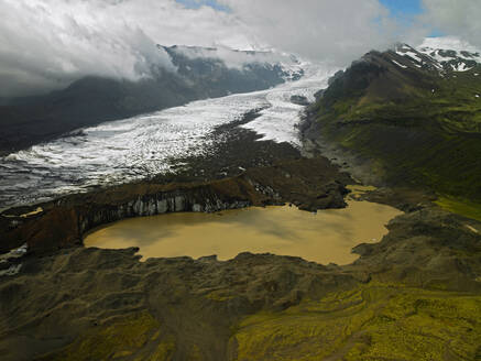 Aerial view of muddy glacier lagoon in south Iceland - CAVF81268