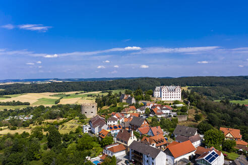 Germany, Hesse, Fischbachtal, Aerial view of Lichtenberg Castle and town - AMF08107