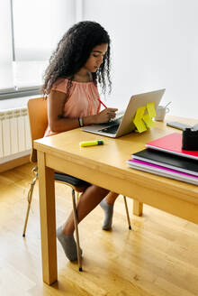 Young woman working from home using laptop - MGOF04336