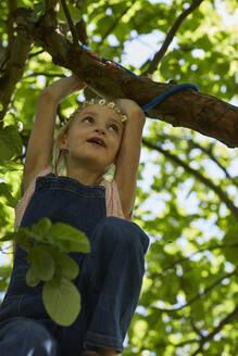 Girl wearing daisy flower wreath climbing in a tree - MCF00887