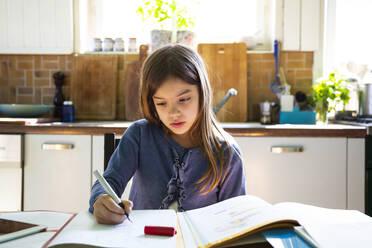 Girl doing homework in kitchen at home - LVF08915