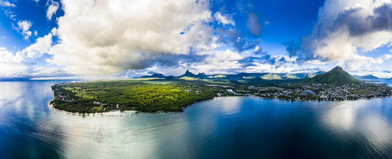 Mauritius, Black River, Flic-en-Flac, Helicopter panorama of oceanside village in summer - AMF08124
