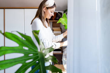 Smiling woman arranging plant in bedroom at home - ERRF03888