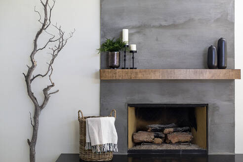 Modern gray textured fireplace with basket and tree branch - CAVF83338