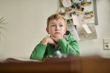 Thoughtful boy looking away while studying at home - MMIF00268