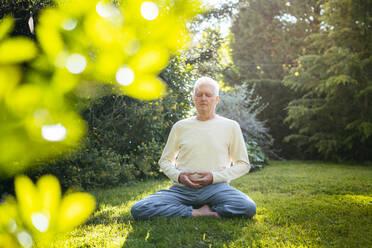 Senior man meditating in garden - AFVF06394