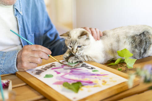 Senior man stroking cat while painting on paper at home - AFVF06500
