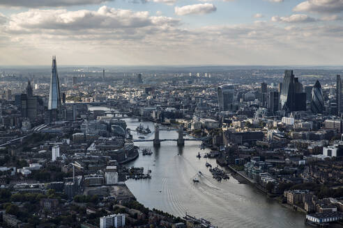 Aerial view of the Shard, Tower Bridge, Walkie Talkie, Gherkin and River Thames, London, UK - CUF55507