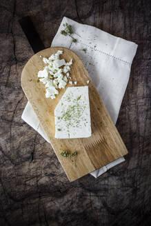 Feta cheese on cutting board - GIOF08353