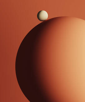 Three dimensional render of small sphere on top of large one - DRBF00160
