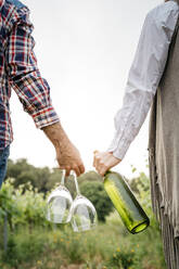 Spain, Barcelona, Penedes. Young couple of farmers strolling and enjoying their vineyards in the afternoon - JRFF04480